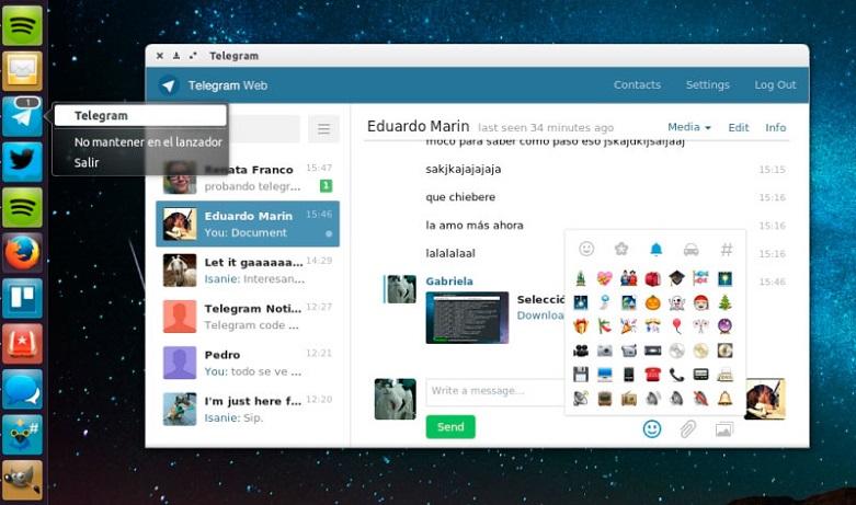 Изображение мессенджера Телеграмм на рабочем столе Linux