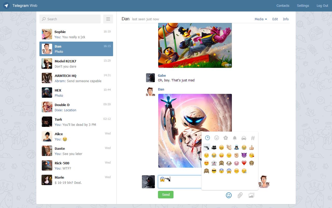 Telegram Web на английском языке