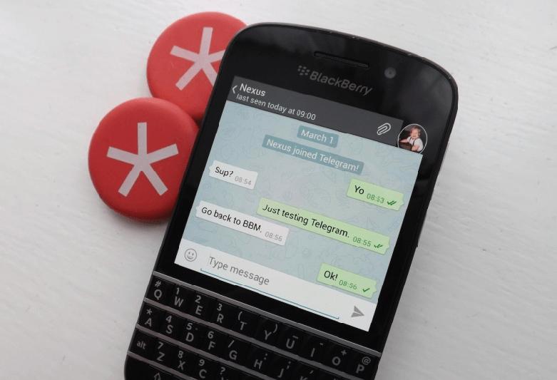 Мессенджер Telegram на телефоне BlackBerry