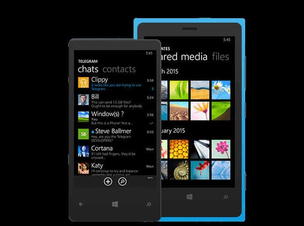 Интерфейс мессенджера Telegram на Nokia