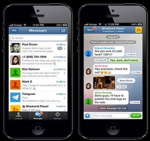 Общение в мессенджере Telegram