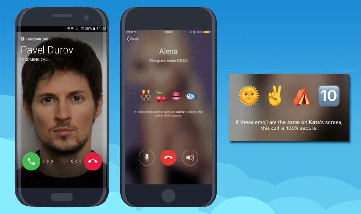 Демонстрация интерфейса звонков в Телеграмм и новой фишки: эмоджи-ключа