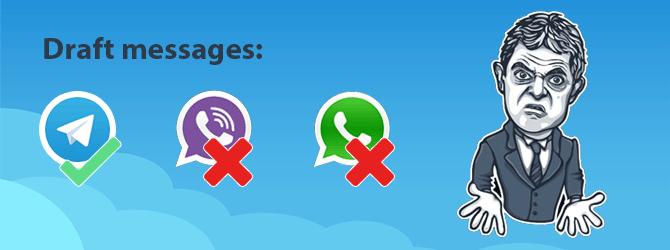 Viber и Whatsapp не сохраняют черновики сообщений