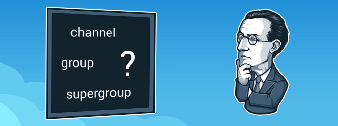 The difference between a channel, a group and a supergroup in Telegram