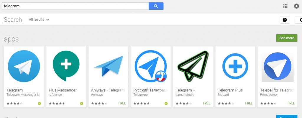Выдача Google Play по запросу Telegram