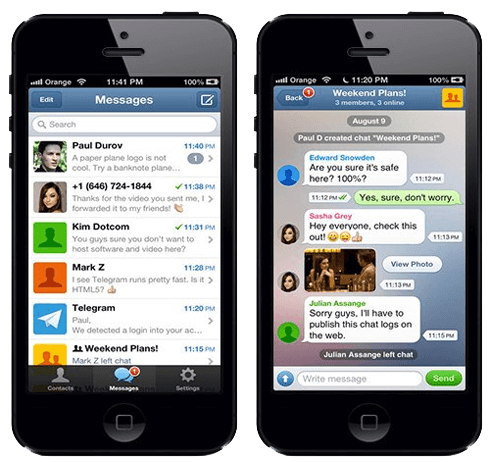 Communication in the Telegram messenger