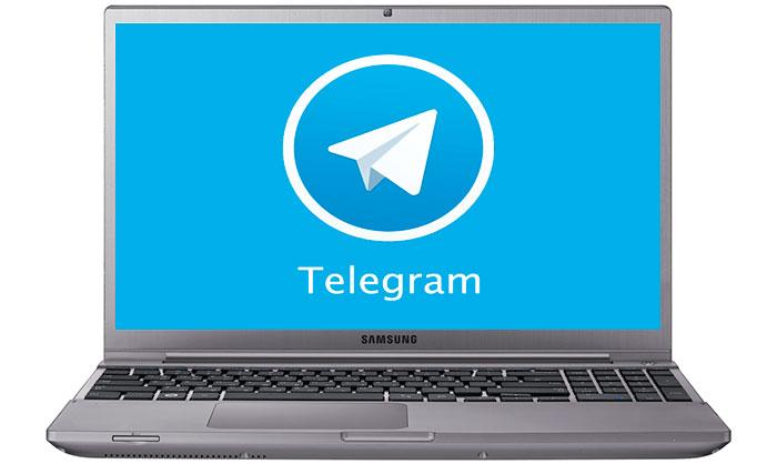 Registration in Telegram messenger on a laptop