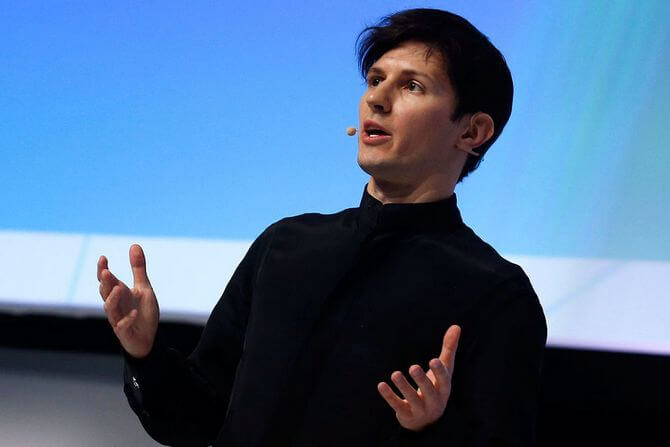 Pavel Durov speaks at the conference