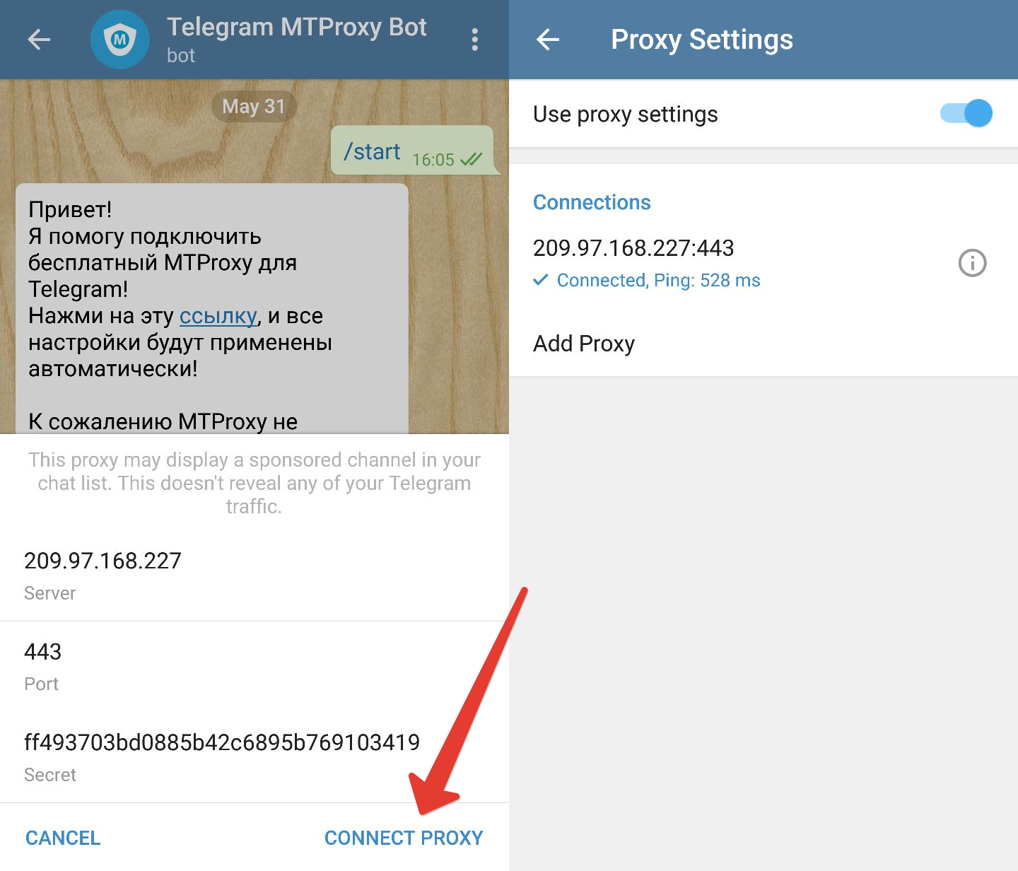 How to use proxy telegram